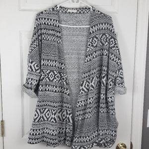 Lime & Chili Furry Tribal Open Front Cardigan